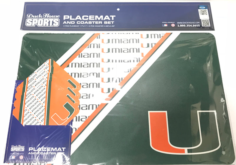 Miami Hurricanes Placemat And Coaster Set