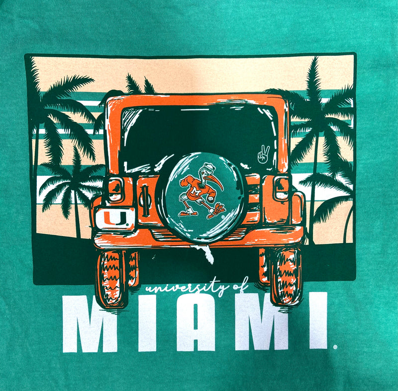Miami Hurricanes Jeep Adventure Beach Comfort Colors T-Shirt - Gas Green