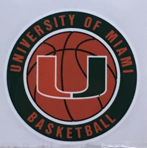 Miami Hurricanes Basketball Round Decal 3""