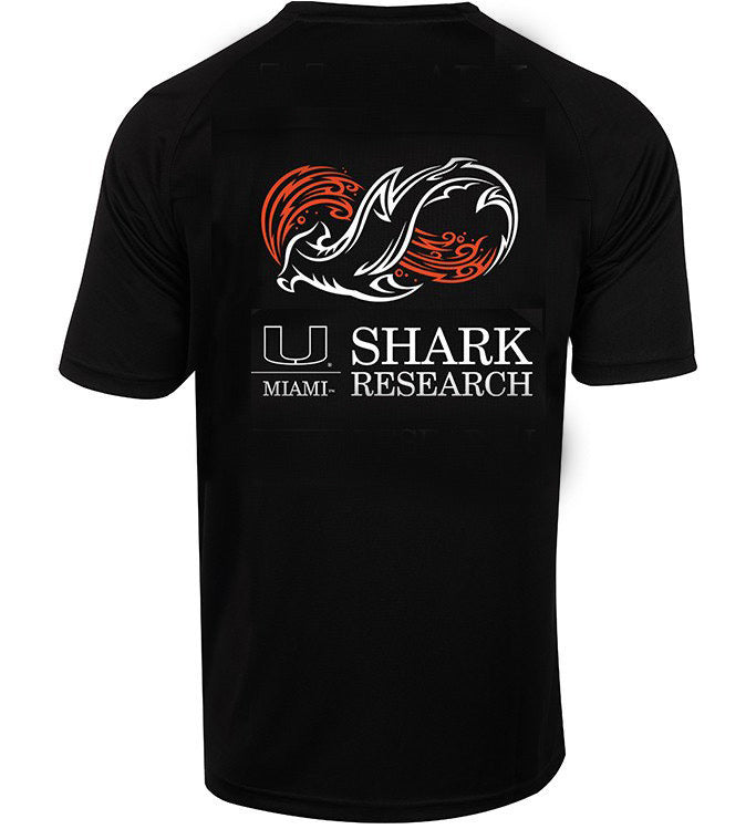 Miami Hurricanes Shark Research Seamount S/S Fishing Shirt - Black