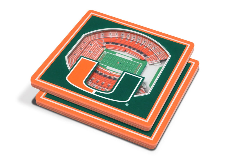Miami Hurricanes 3D Orange Bowl Stadium Coaster Set