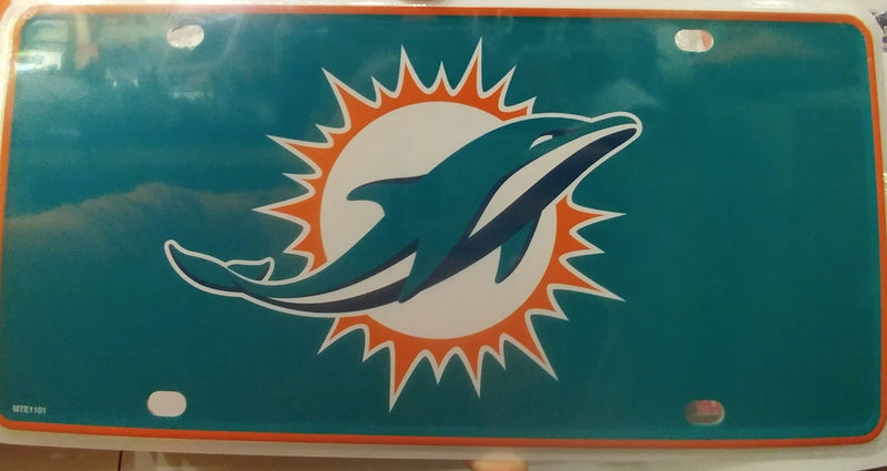 MIami Dolphins Logo License Tag Plate - Metal - CanesWear at Miami FanWear Automobile Accessories CanesWear at Miami FanWear CanesWear at Miami FanWear