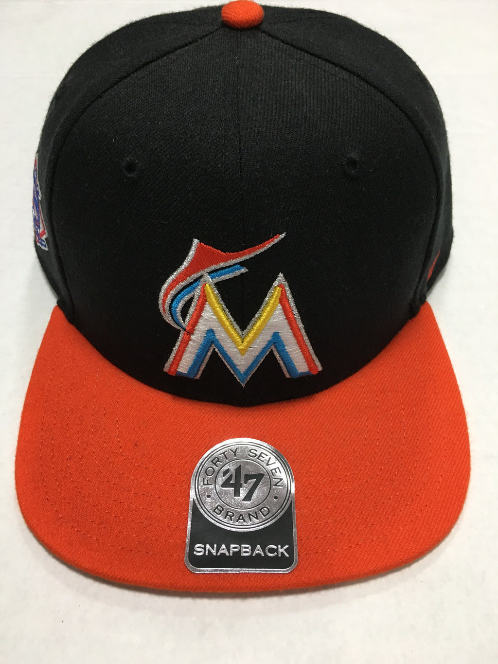 199f6d9e9be70 Miami Marlins Black Sure Shot Two Tone Captain Hat