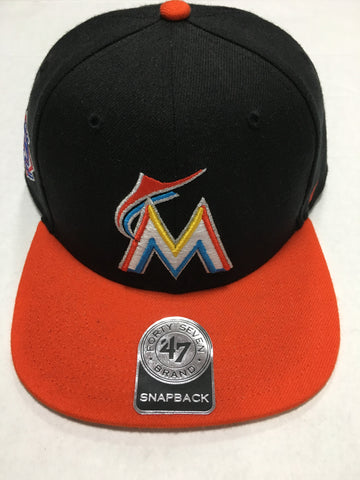 3c671e37389 Miami Marlins Black Sure Shot Two Tone Captain Hat