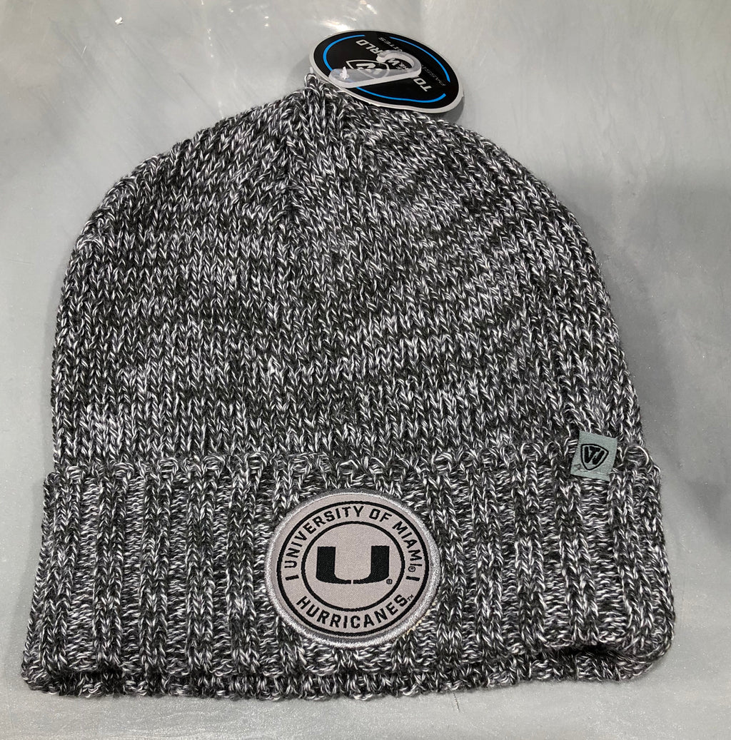 Miami Hurricanes Cuffed Knit Grey Hat