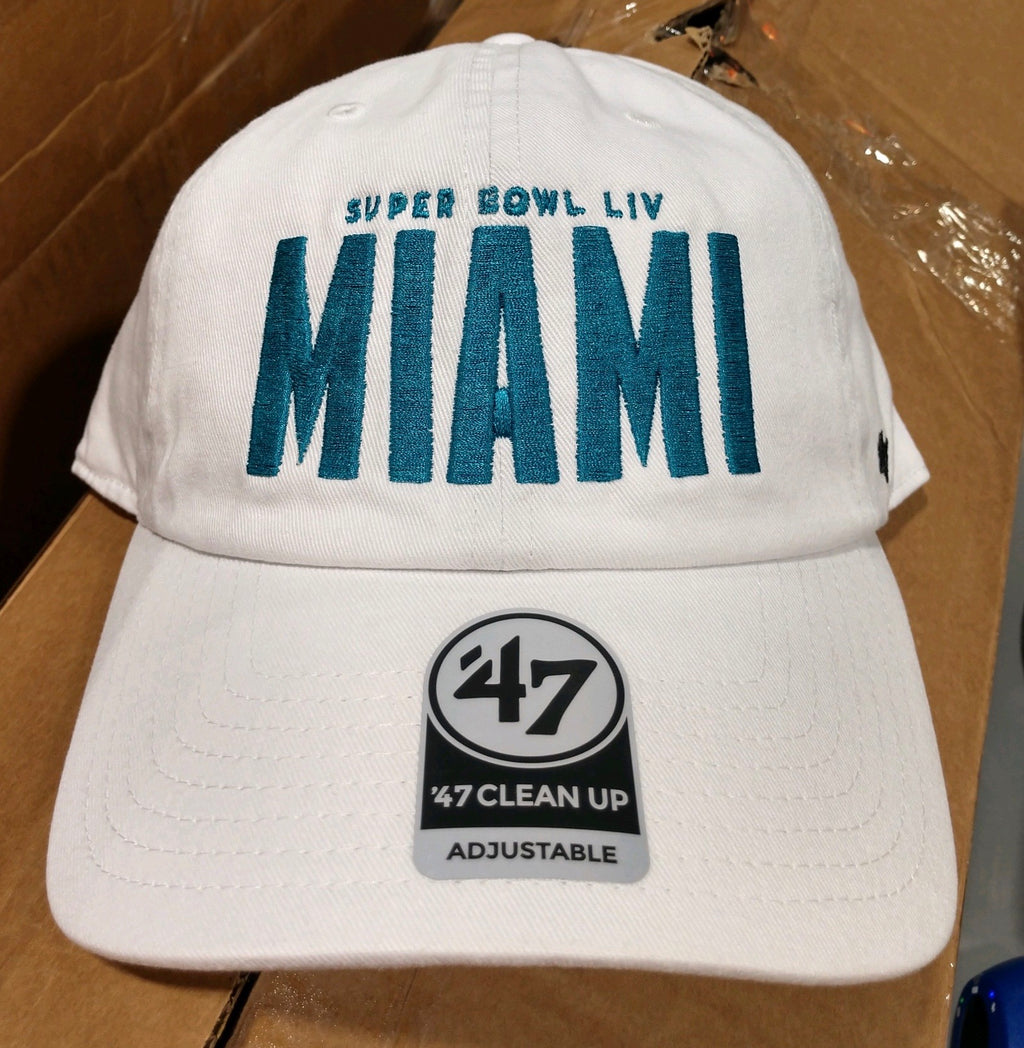 Super Bowl LIV 47 Brand Logo Clean Up Adjustable Hat - White