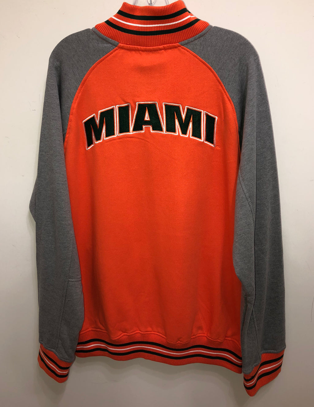 Miami Hurricanes Men's Alpine Varsity Full Zip Jacket - Orange/Heather Grey