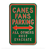 "Miami Hurricanes ""Canes Fans Parking"" Steel Metal Sign"