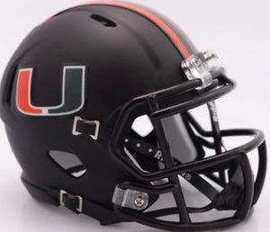 Miami Hurricanes Riddell Speed Mini Helmet  Black - Miami Nights