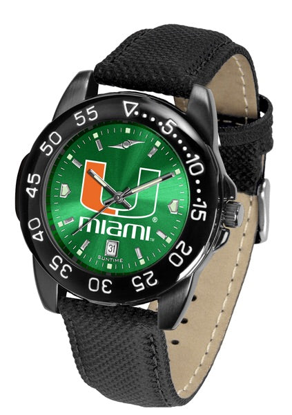 Miami Hurricanes Men's Fantom Bandit Leather AnoChrome Watch