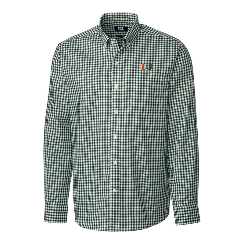 Miami Hurricanes Cutter & Buck League Gingham L/S Button Down Shirt - Green