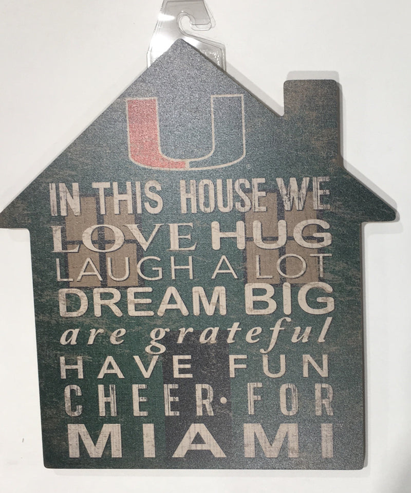 Miami Hurricanes In This House Wooden Sign - 12""