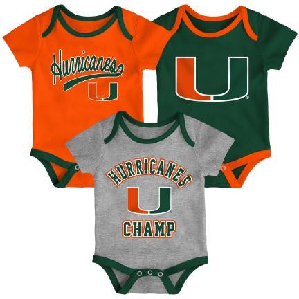 Miami Hurricanes  CHAMP 3PC CREEPER SET K  41TKY 57