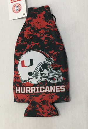 Miami Hurricanes Zipper Bottle Coolie Coozie - Camo Helmet