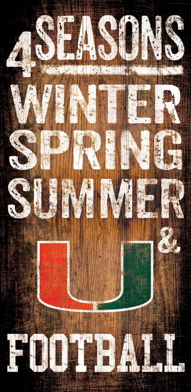 "Miami Hurricanes 4 Seasons Wooden Sign - 6"" x 12"""