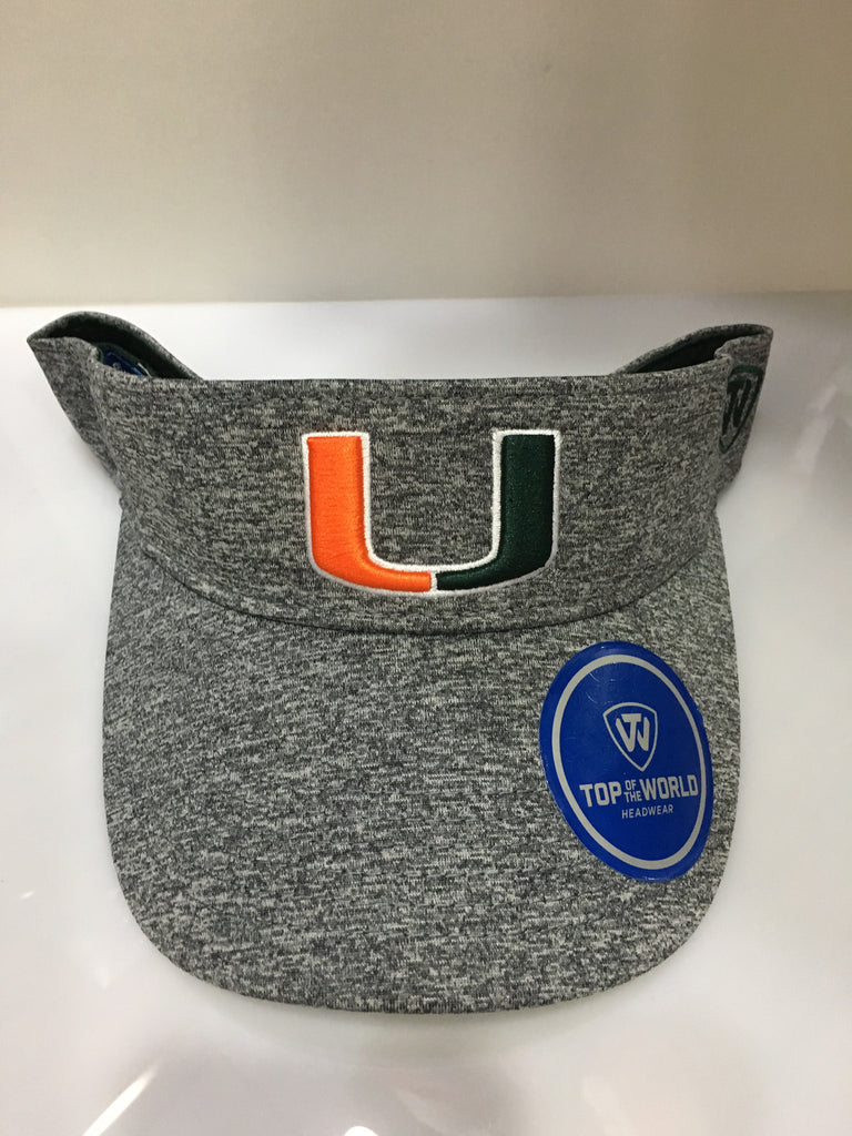 Miami Hurricanes Steam V Visor - Grey - CanesWear at Miami FanWear Headwear Top of the World CanesWear at Miami FanWear