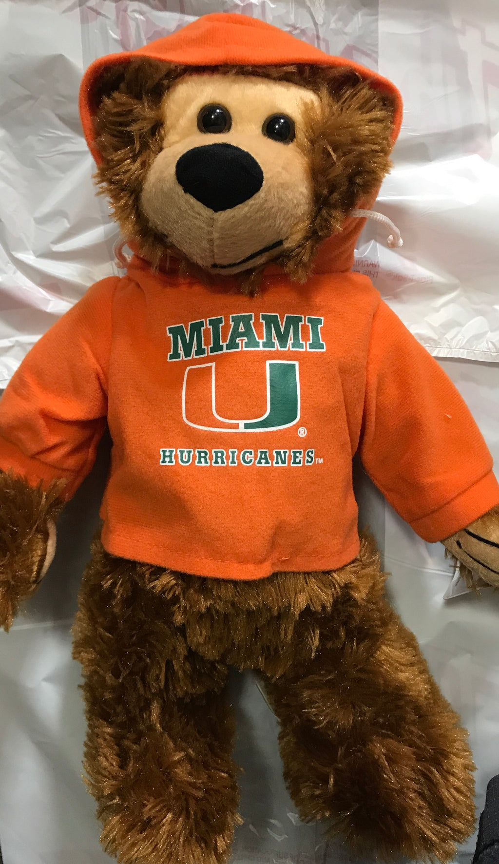 "Miami Hurricanes Plush Hoodie Tedddy Bear 13"" - Orange"