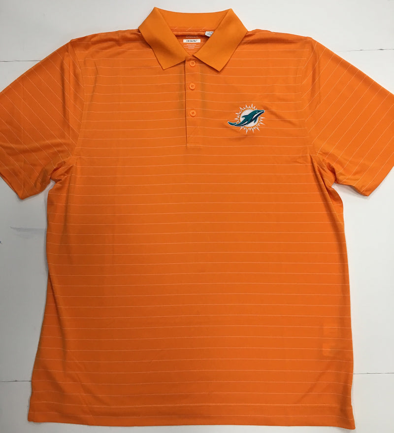 Miami Dolphins Cutter & Buck DryTec Franklin Stripe Polo - Orange