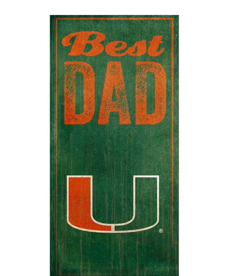 Miami Hurricanes Best Dad Wooden Sign - 6x12