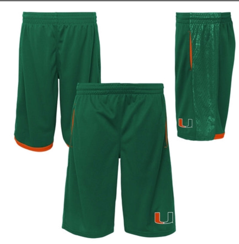 Miami Hurricanes Youth Vector Performance Shorts - Green