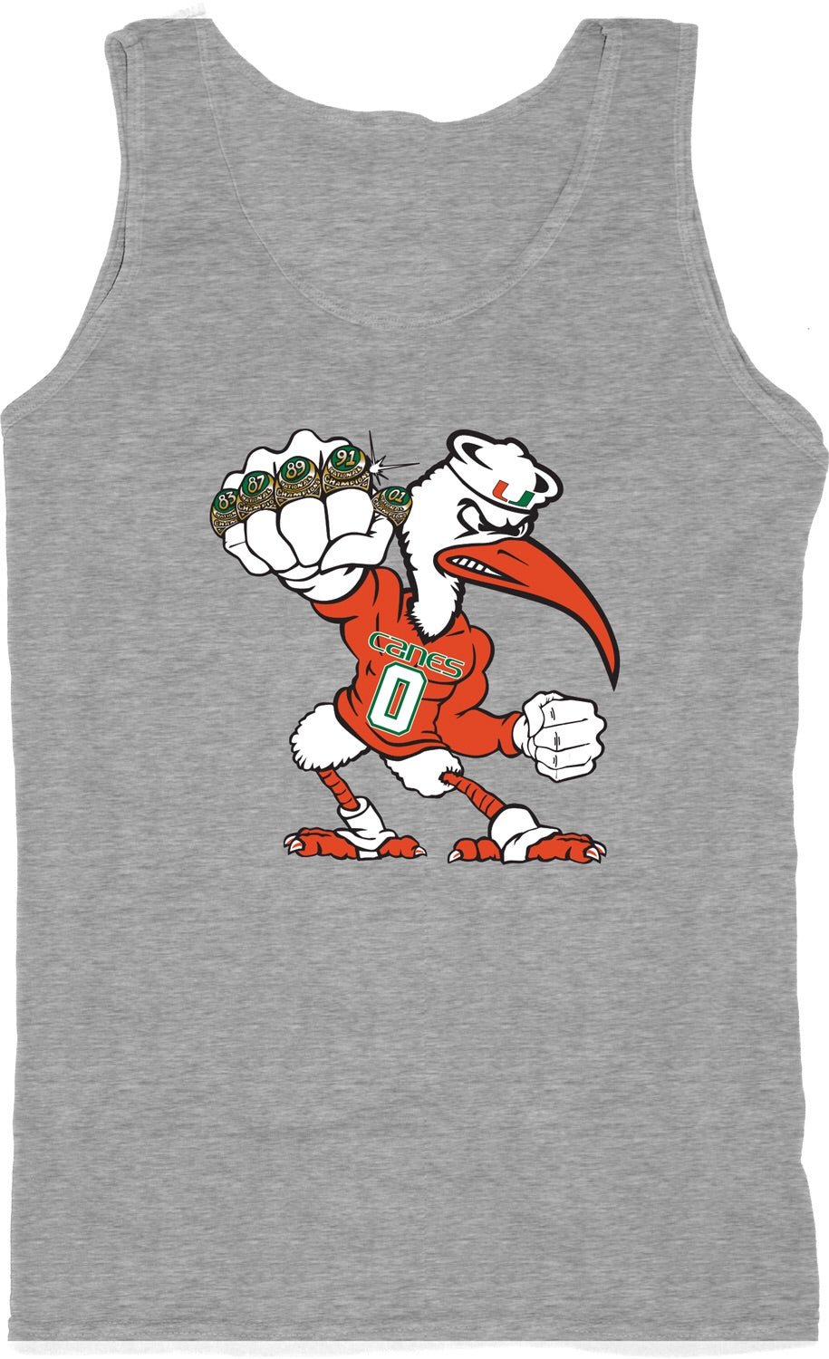 Miami Hurricanes Sebastian Men's 5 Rings Pow Tank Top - Heather Grey
