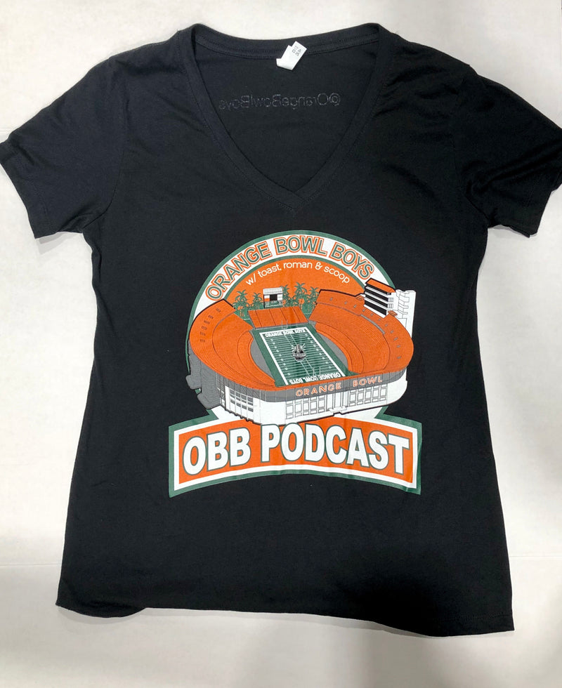 Women's OBB Podcast V-Neck T-Shirt - Black