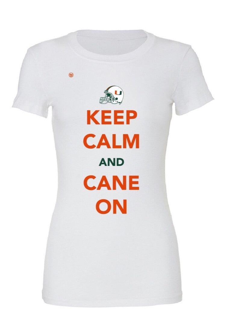 Miami Hurricanes Women's Dyme Lyfe Keep Calm and Cane On T-Shirt - White
