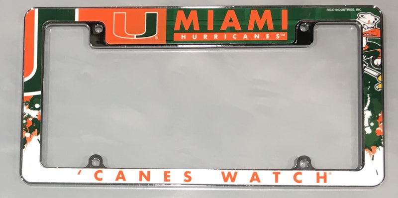 Miami Hurricanes All Over Chrome License Plate Frame