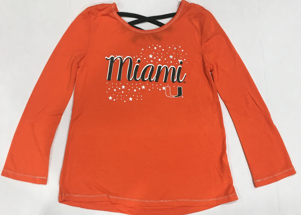 Miami Hurricanes Youth Girl's Camber L/S T-Shirt - Orange