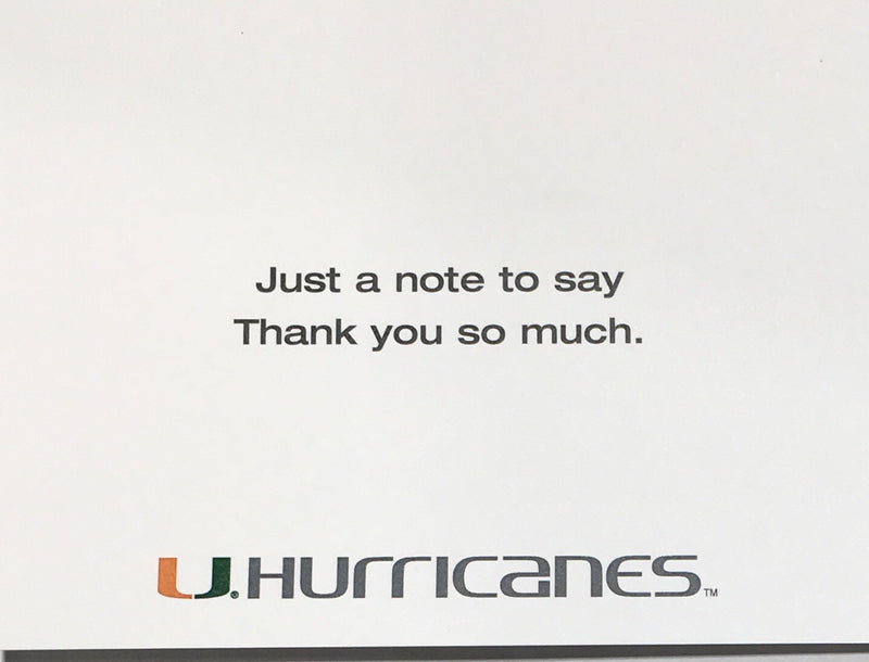 Miami Hurricanes U Greeting Card - Thank You