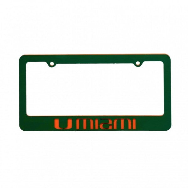 Miami Hurricanes Metal Hurricanes License Tag Frame - Green