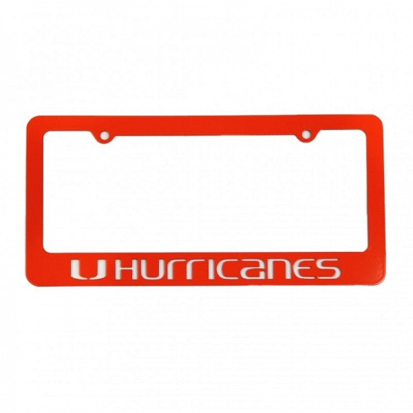Miami Hurricanes Metal Hurricanes Tag Frame - Orange