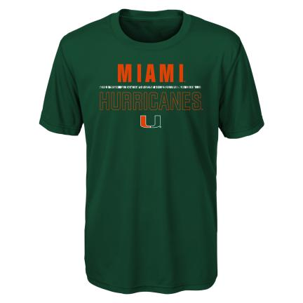 Miami Hurricanes  Kid's LAUNCH DRI TEK TEE -Green