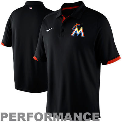 Miami Marlins Nike Dri-Fit Polo - Black - CanesWear at Miami FanWear Men Apparel Nike Factory CanesWear at Miami FanWear