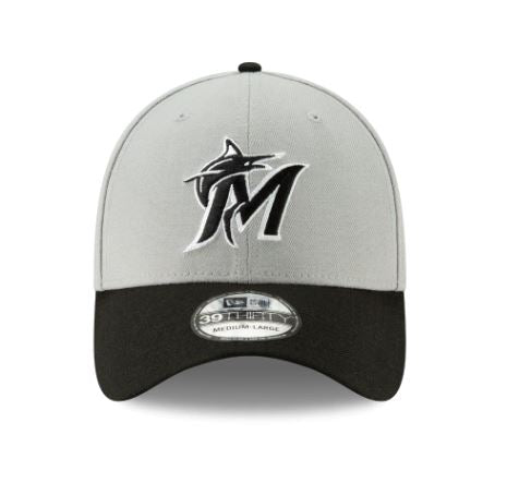 Miami Marlins Classic Flex Fitted Hat - Gray / Black