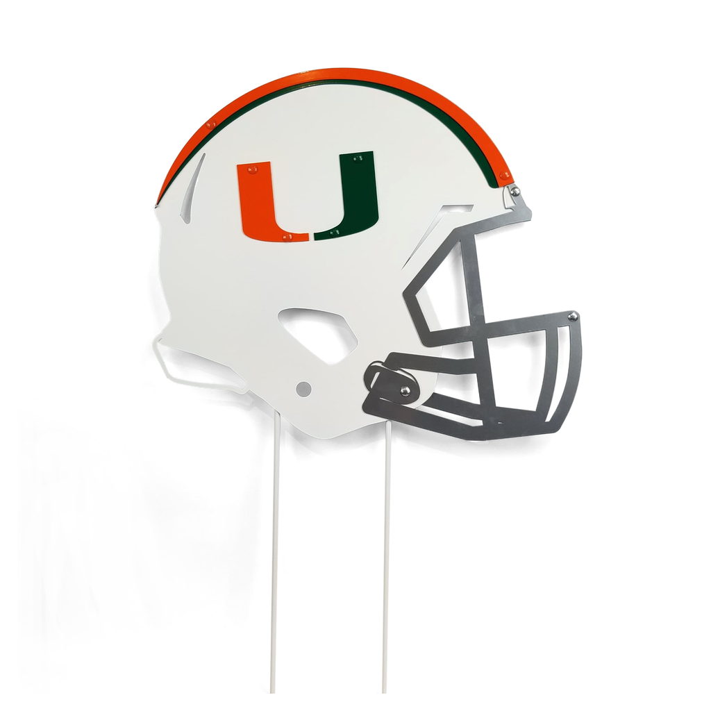 Miami Hurricanes Miami Helmet with Stakes Yard Sign - Metal