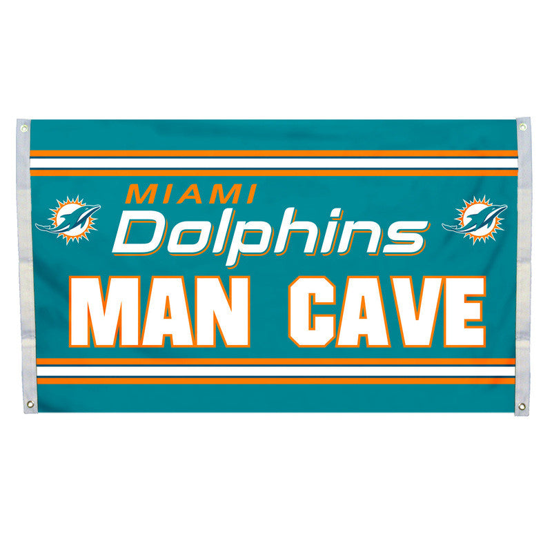 Miami Dolphins 3' x 5' Man Cave Flag - CanesWear at Miami FanWear Flags Miami FanWear CanesWear at Miami FanWear