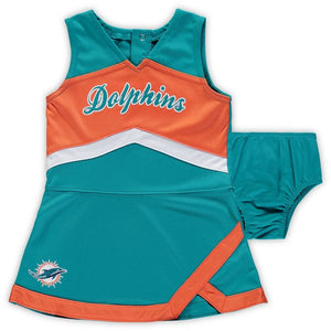 Miami Dolphins Baby 2 Piece Cheerleader Set Aqua/Orange