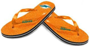 Miami Dolphins Glitter Thong Flip Flops - Women's - CanesWear at Miami FanWear Shoes Forever Collectibles CanesWear at Miami FanWear