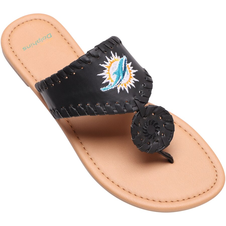 Miami Dolphins Women's High End Monotone Whipstitch Sandals
