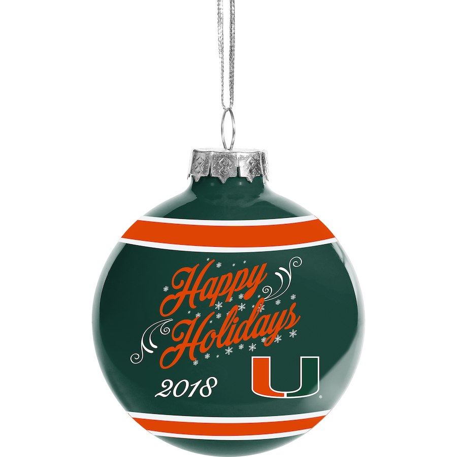 Miami Hurricanes 2018 Glass Ball Holidays Ornament