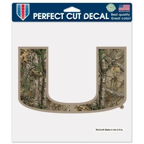 "Miami Hurricanes 8""x8"" Camo Perfect Cut Decal"