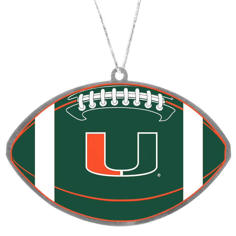 Miami Hurricanes Flat Metal Team Ornament