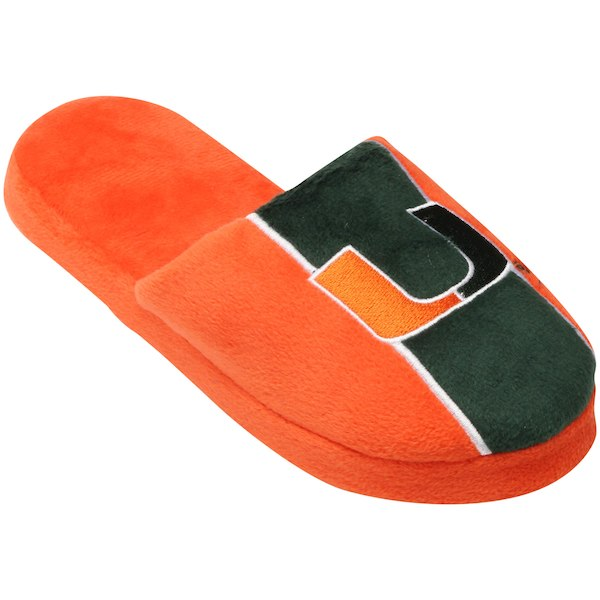 Miami Hurricanes Big Logo Stripe Slippers-Orange