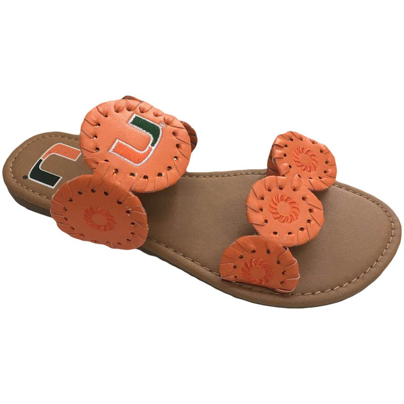 Miami Hurricanes Women's Double Strap Whipstitch Sandals- Orange