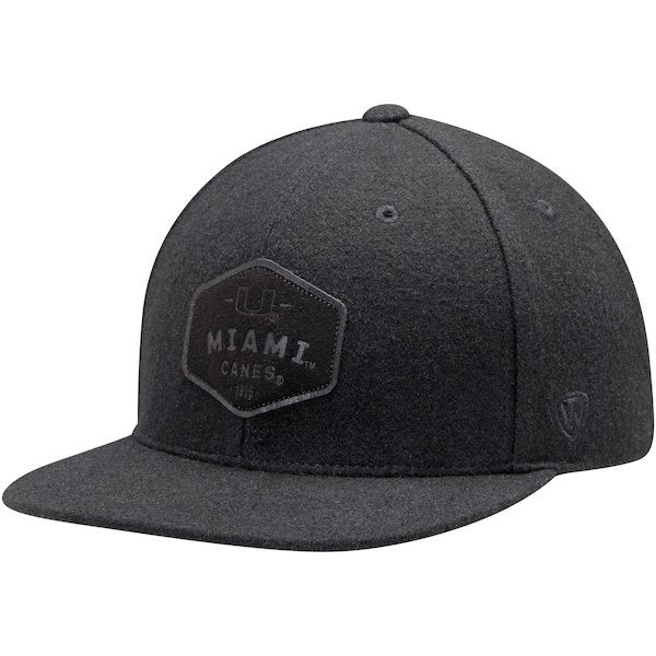 Miami Hurricanes Top of the World Intro Adjustable Snapback Hat - Black