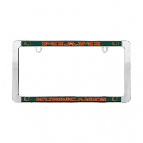 Miami Hurricanes Metal Chrome Thin Rim License Plate Tag Frame