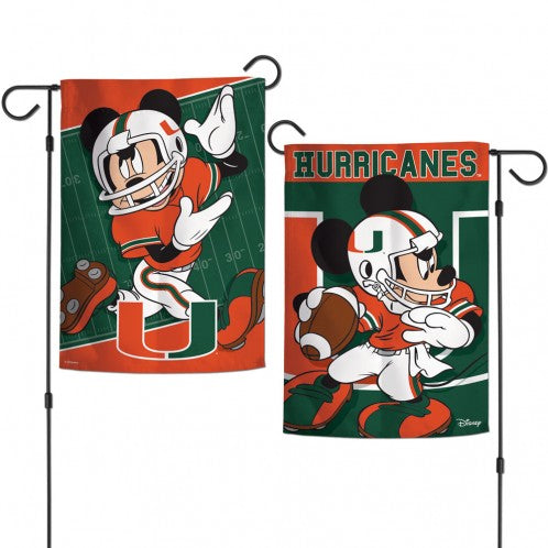 "Miami Hurricanes Mickey Disney Garden Flag - 12.5"" x 18"""