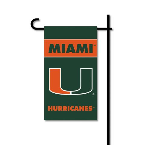 Miami Hurricanes Mini Two-Sided Garden Flag