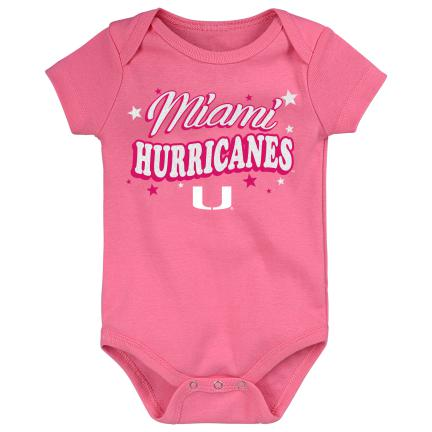 "Miami Hurricanes Infant Creeper ""My Team"" Onesie - Pink"